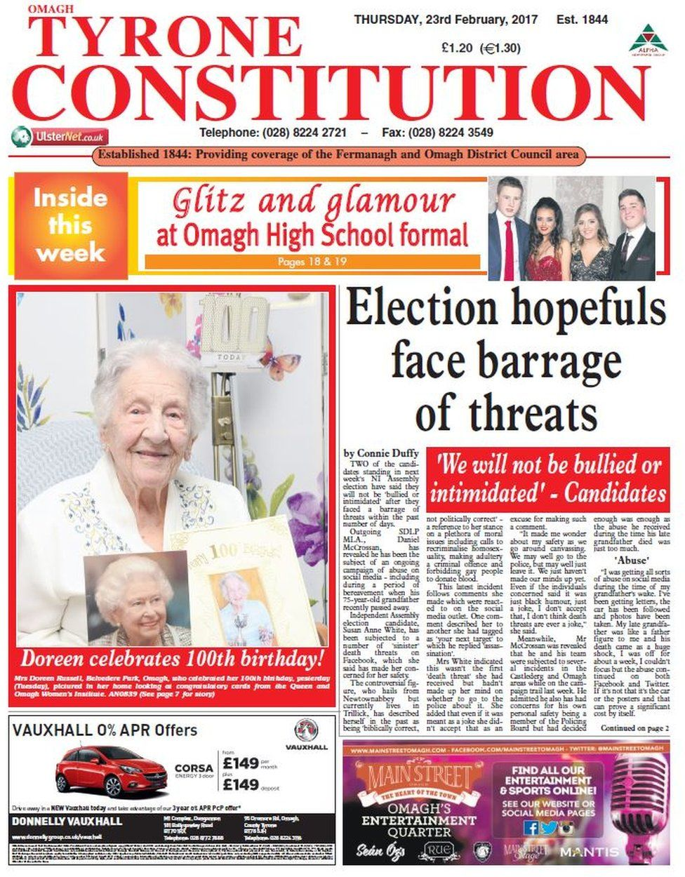 Tyrone Constitution front page