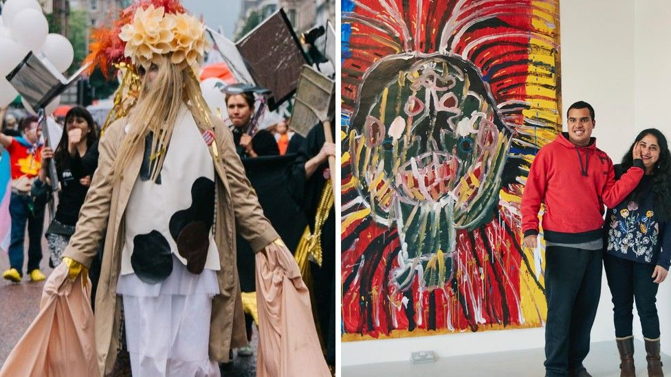 The Array Collective at Pride 2019 (left) and Project Art Works' Siddharth Gadiyar at the Phoenix Art Space