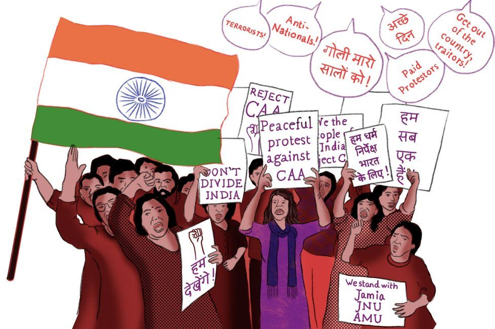 Illustration depicting protests against the new citizenship laws