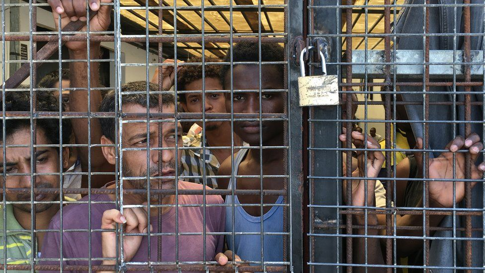 Migrants at the detention centre