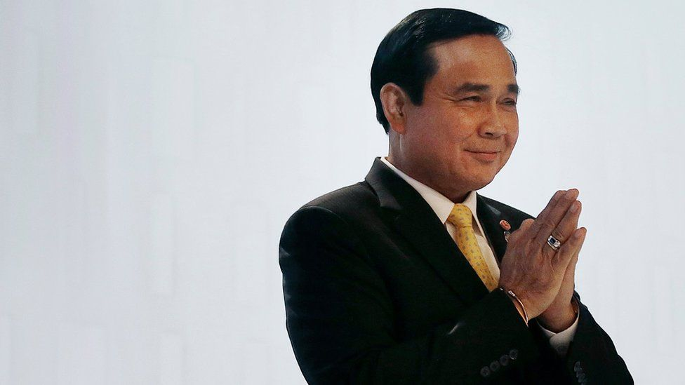 Thailand's Prime Minister Prayuth Chan-ocha at a security summit in Singapore
