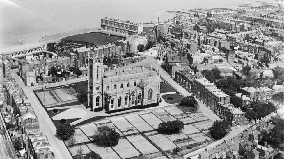 An aerial view of Holy Trinity Church, Margate, Kent, taken in April 1920