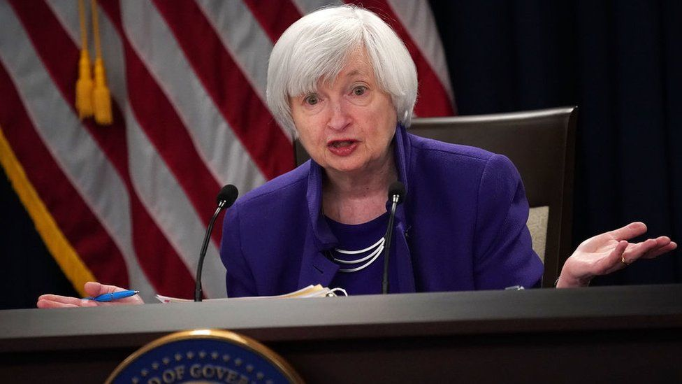 Janet Yellen speaking at a press conference in 2017 as US Federal Reserve Chair