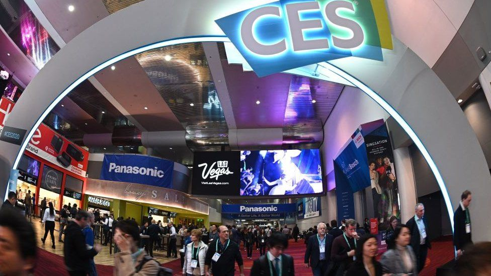 Attendees walk through the Las Vegas Convention Center January 10, 2020