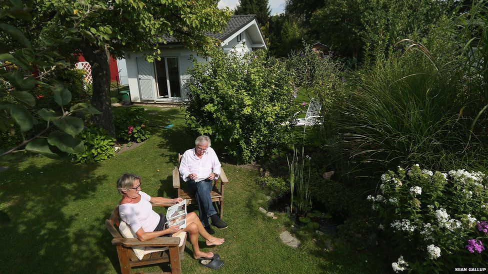 Pensioners enjoying the sunshine in a Berlin allotment