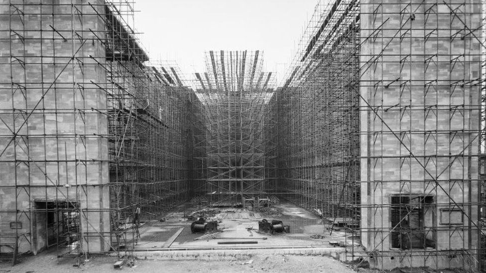Scaffolding around new cathedral walls