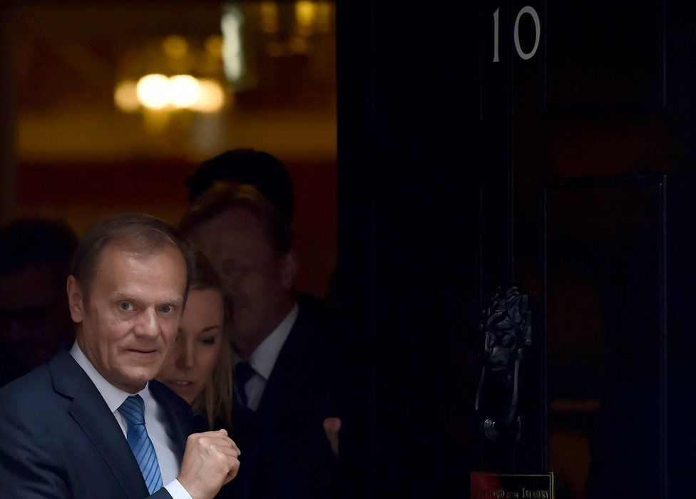 """Donald Tusk, the President of the European Council, leaves after meeting Britain""""s Prime Minister, Theresa May inside 10 Downing Street, in central London, Britain April 6,"""