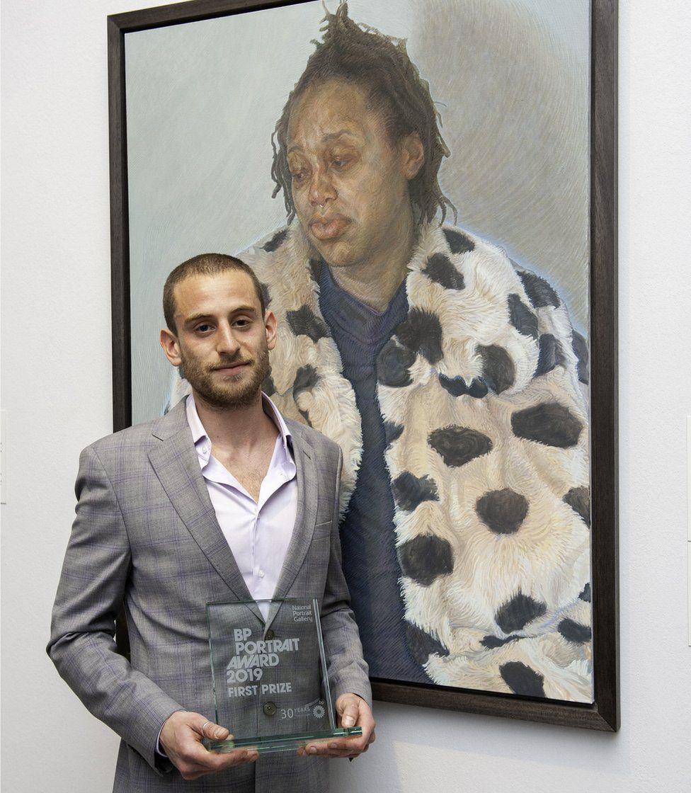 Charlie Schaffer with his portrait Imara in her Winter Coat,