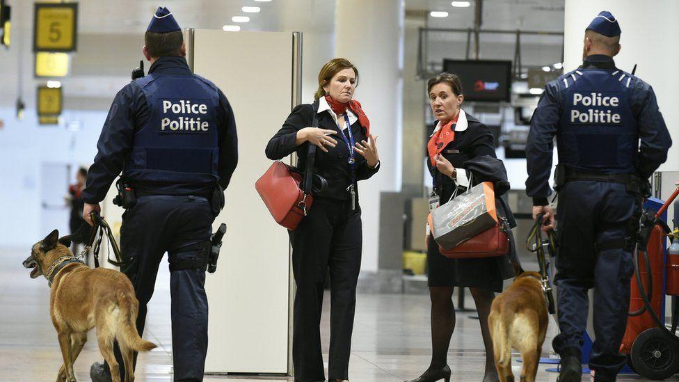 Police patrol Brussels airport
