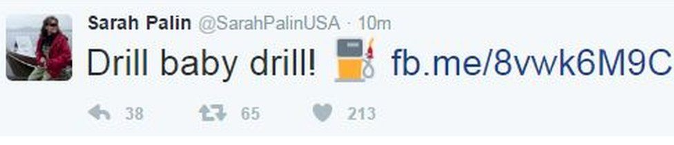 """Former vice-presidential candidate Sarah Palin tweets """"Drill baby drill!"""""""