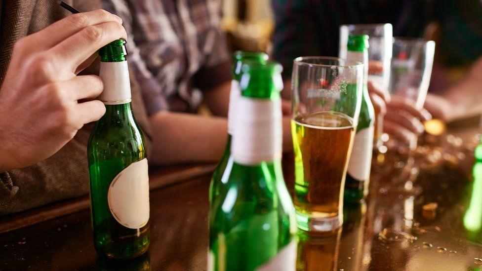 Bottles of beer at bar