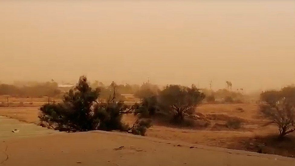 A dust storm blows across Carnarvon, Western Australia, 24 May 2020, in this still image obtained from a social media video.