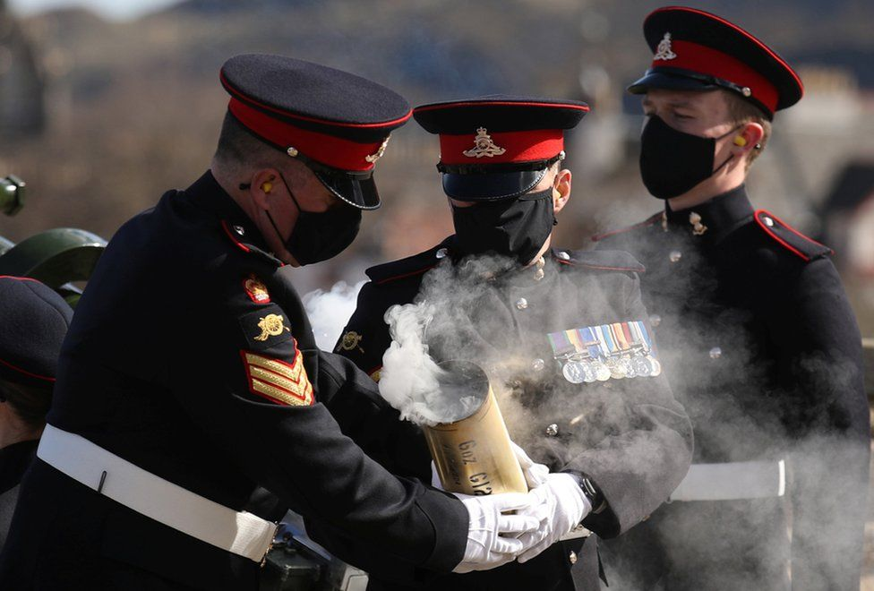 Members of the 105th Regiment Royal Artillery fire a gun salute to mark the death of Britain's Prince Philip.