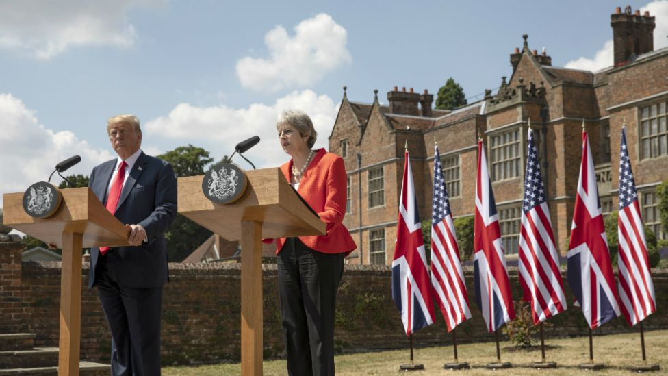 Theresa May and Donald Trump hold a joint news conference at Chequers