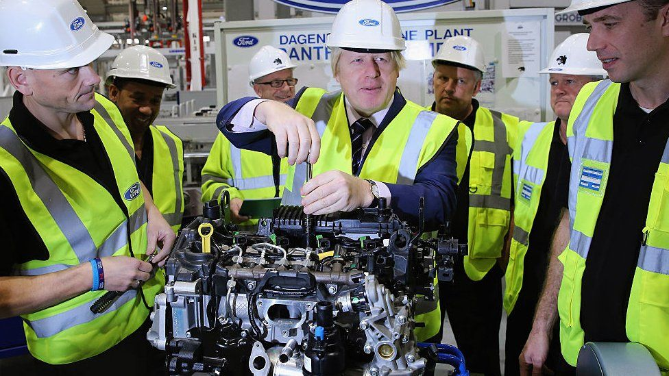 Boris Johnson at the Ford car factory