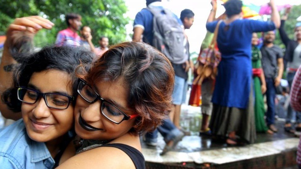 Indian activists of the lesbian, gay, bisexual, and transgender (LGBT) community hug each other as they celebrate during a rally after the verdict at the Supreme Court in Kolkata, Eastern India, 06 September 2018.