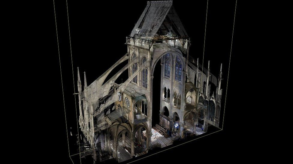 A Notre-Dame cross-section made from Andrew Tallon's scans