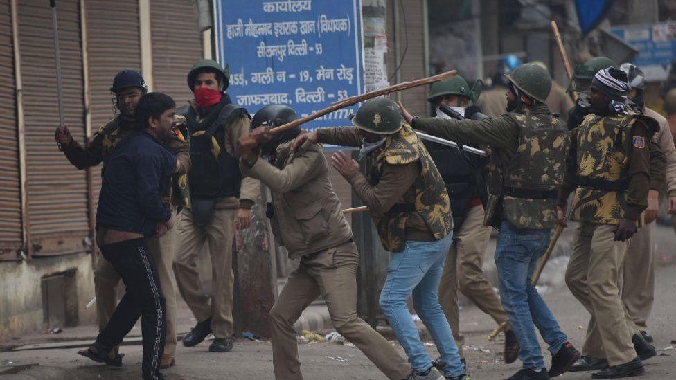 Police disperse a protest in Delhi