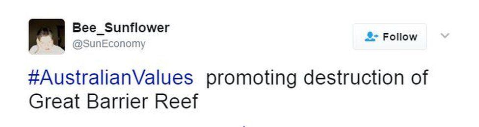 "A tweet by @SunEconomy says: ""#AustralianValues promoting destruction of Great Barrier Reef"""