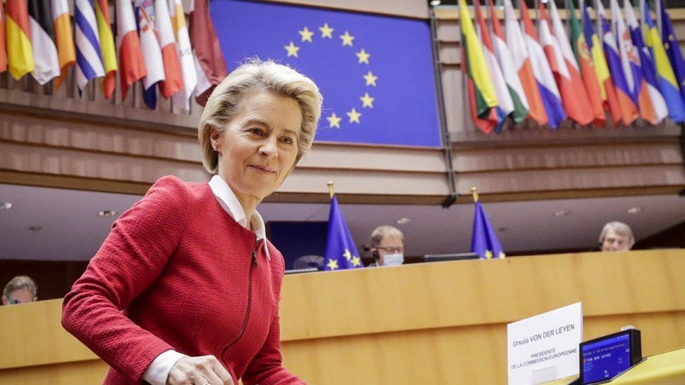 EU Commission President Ursula von der Leyen, 27 Apr 21