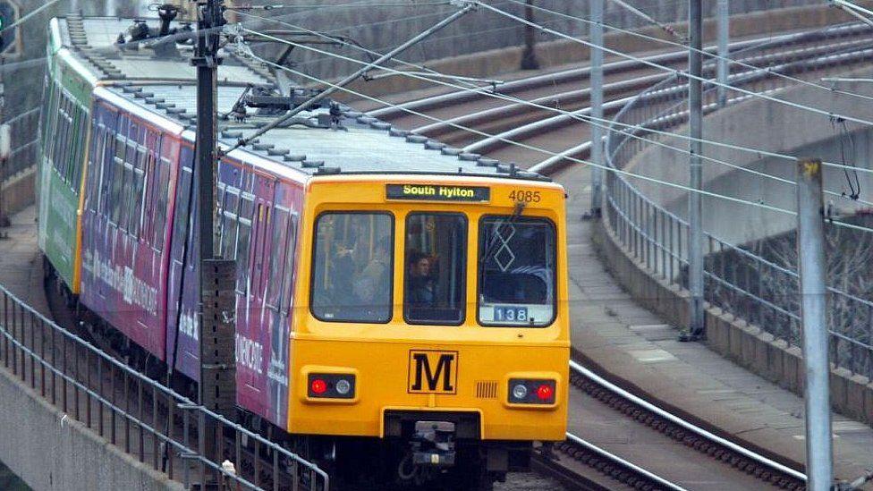 A Metro train travelling to South Hylton