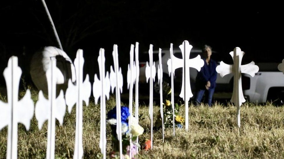 Crosses in Sutherland Springs