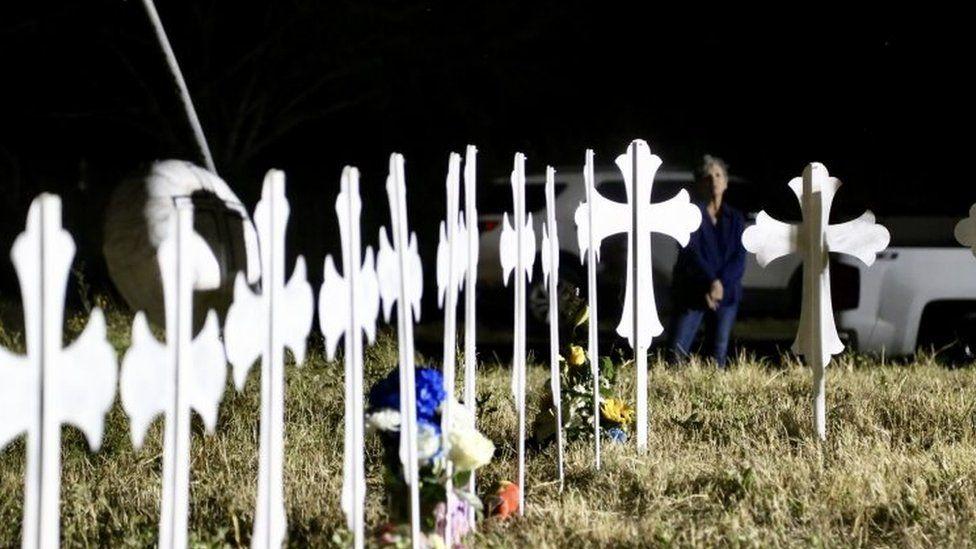 Crosses in Sutherland Springs