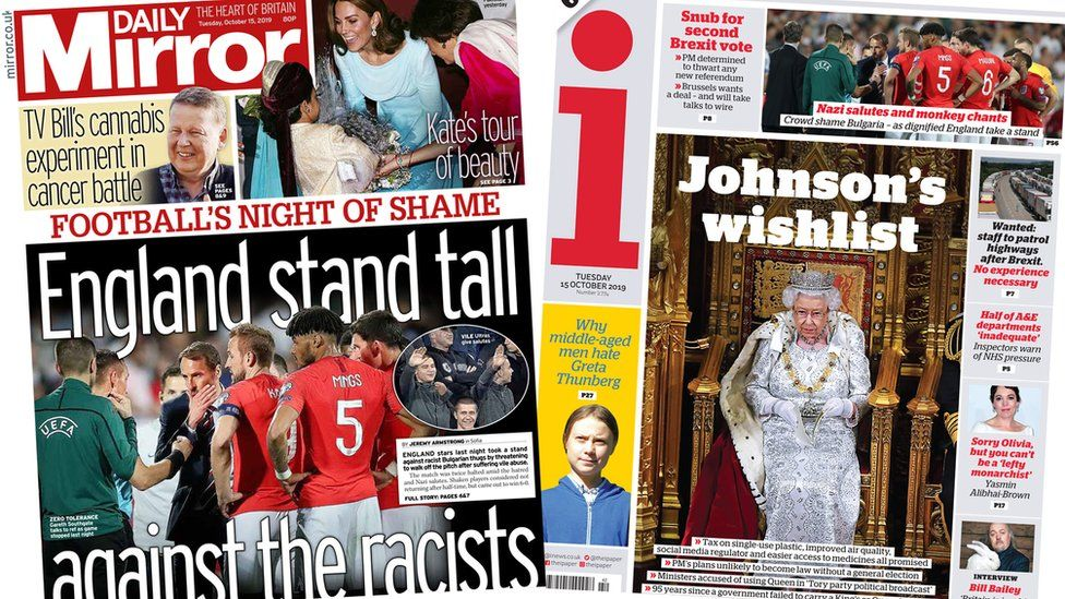 Composite of Tuesday's Daily Mirror and i front pages