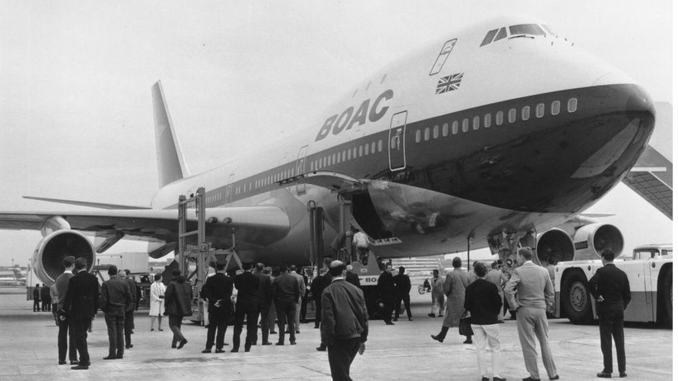The first Boeing 747 to be operated by BOAC arrives at London's Heathrow Airport in May 1970.