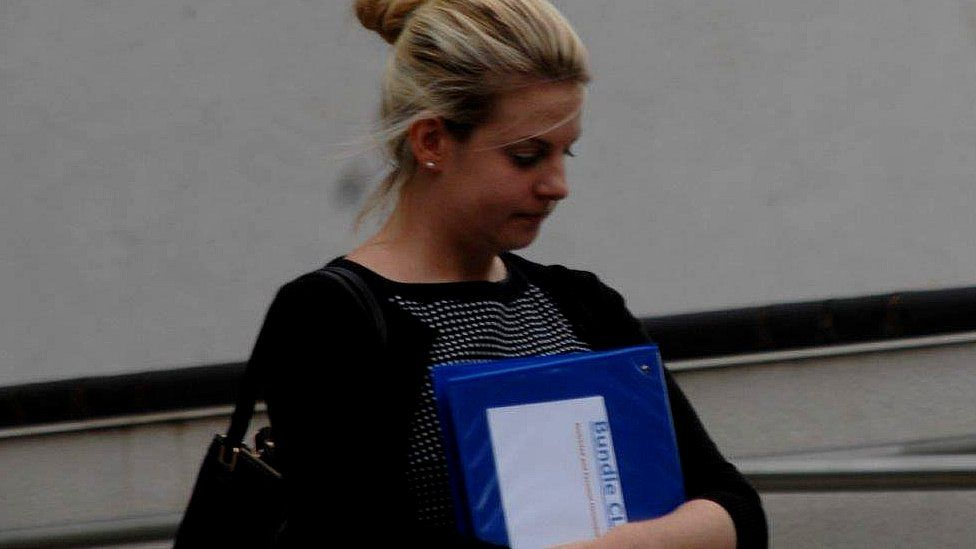 Lucy Clark arriving at Exeter Crown Court