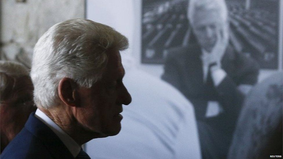 Former United States president Bill Clinton arrives to attend a ceremony marking the 20th anniversary of the Srebrenica massacre in Potocari,