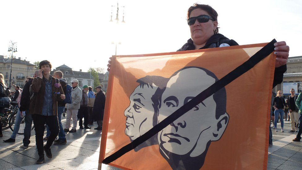 Protest at Heroes Square, Budapest