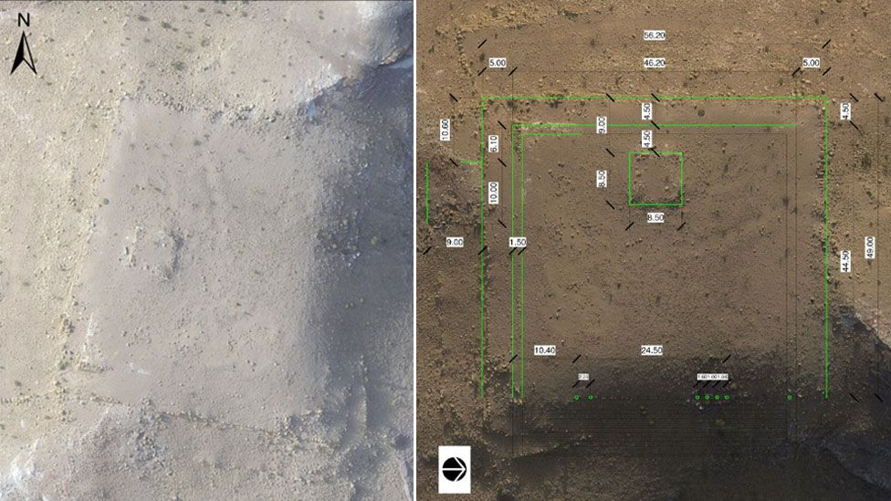 Satellite images showing a previously unknown ancient monument in Jordan, Petra