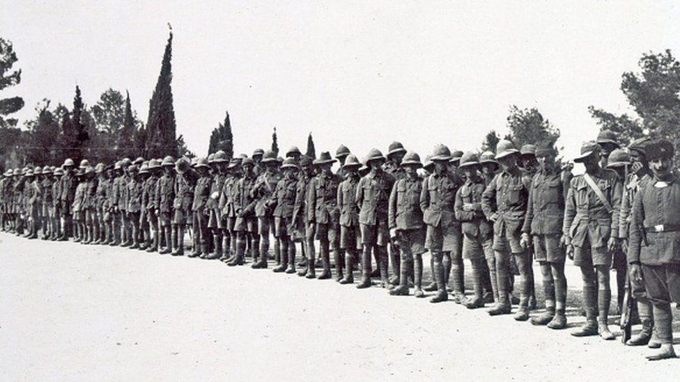 Captured British prisoners in the 2nd Gaza battle. Dated 1917