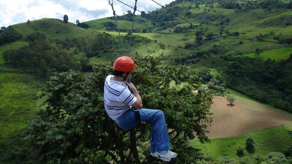 Ricardo Shimosakai ziplining