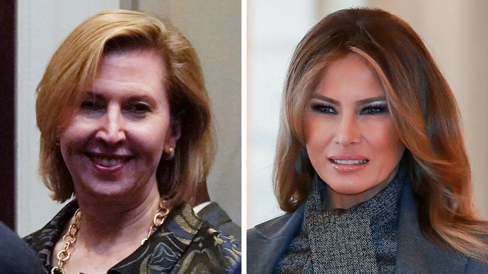 Composite image of Mira Ricardel and Melania Trump