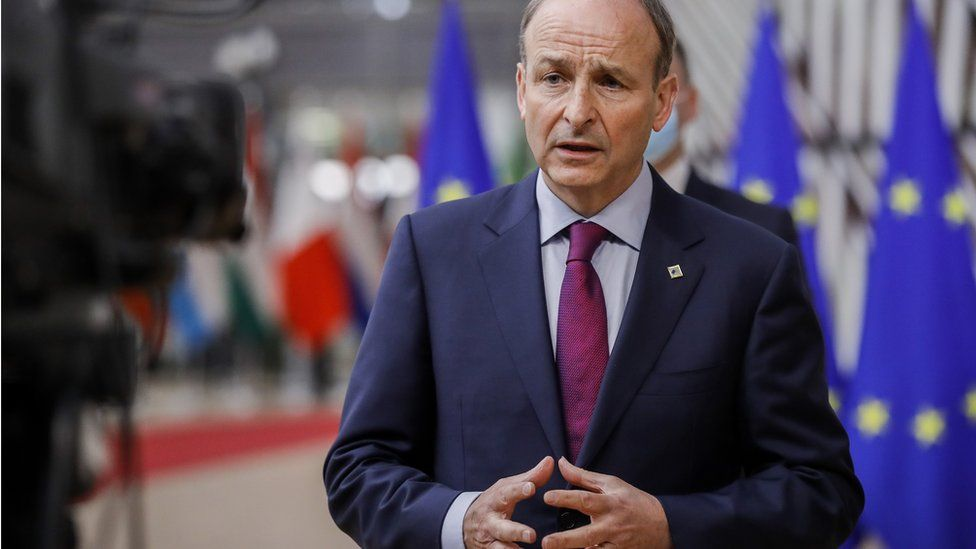 """Ireland""""s Prime Minister (Taoiseach) Micheál Martin arrives for a face-to-face EU summit in Brussels, May 24, 2021."""
