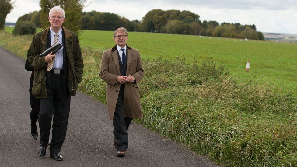 Mr Justice Sweeney and Michael Bowes QC at the airfield where Victoria was injured