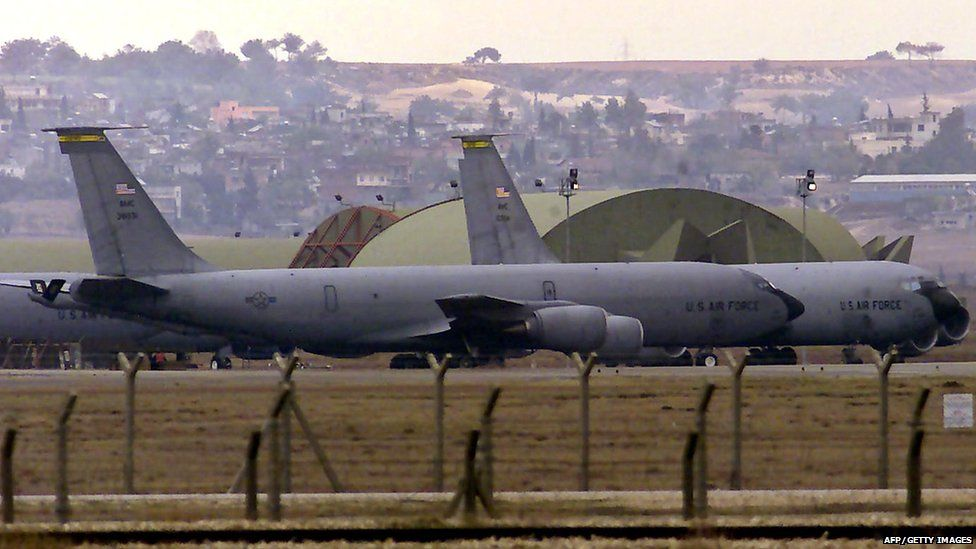 A file photo taken on January 11, 2005 shows US airforce tanker planes lining to take off from the Incirlik Airbase, southern Turkey