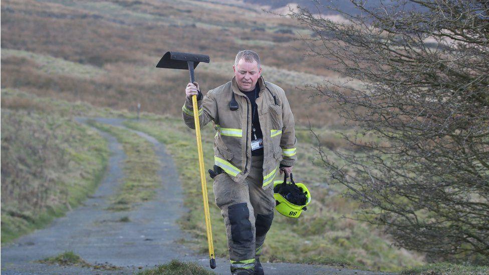 Firefighter on Marsden moor