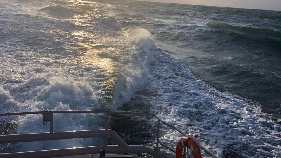 Shot of the south Devon sea taken from lifeboat