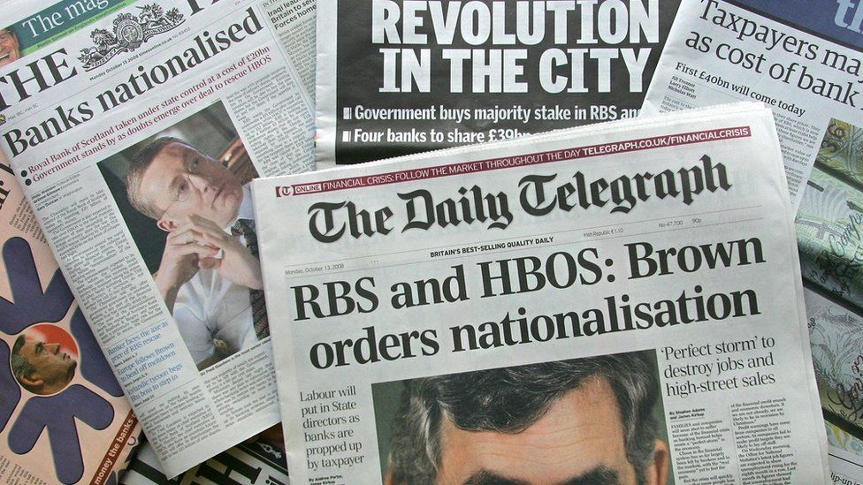 Newspapers at time of bailout