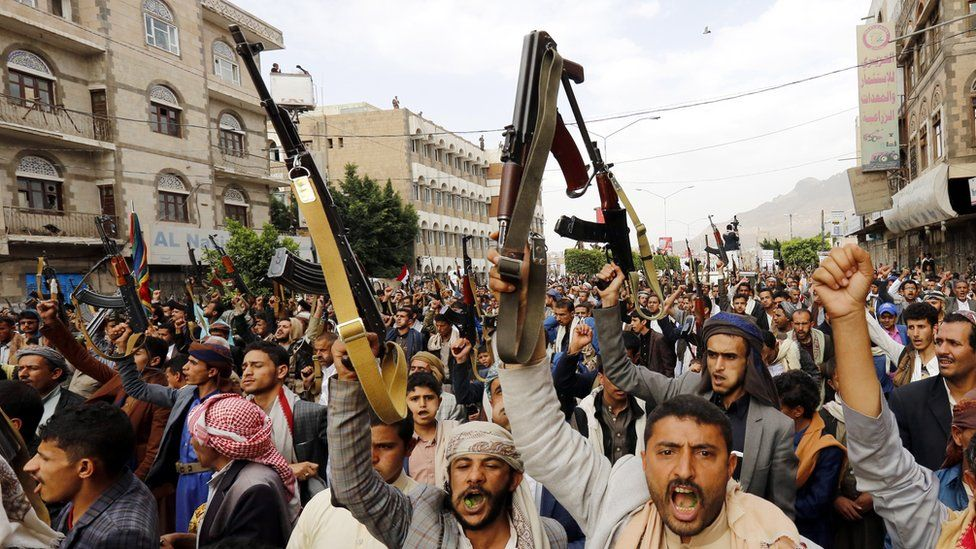 Houthi supporters protest against the Saudi-led coalition blockade of Yemen (17 August 2018)