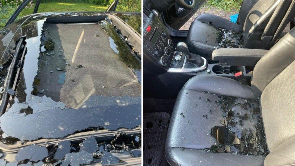 Car damaged in hail storm