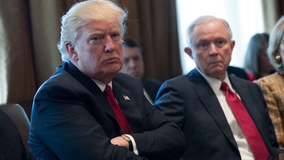 Donald Trump and Jeff Sessions at a White House meeting in March.