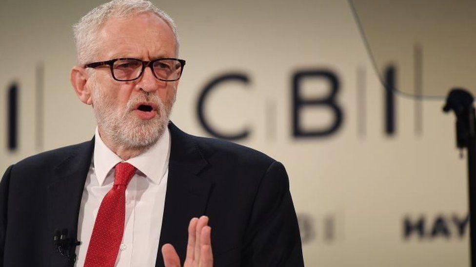 Jeremy Corbyn speaking at the CBI conference