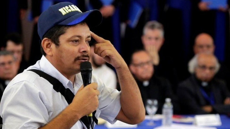 Farm leader Medardo Mairena speaks during the first round of dialogue in Managua, Nicaragua May 16, 2018