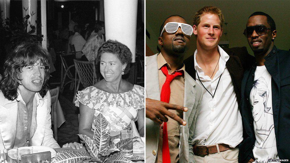 (L) Princess Margaret with Mick Jagger; (R) Kanye West, Prince Harry and Diddy