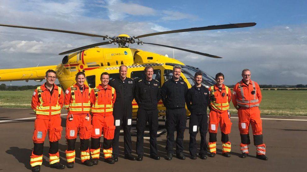 Prince William and air ambulance medics and crew