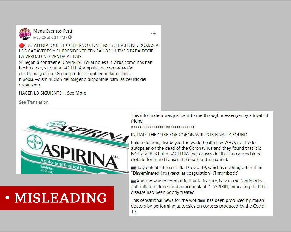 Screenshot of two misleading posts claiming coronavirus is a bacteria